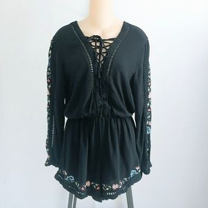 NWOT Kendall & Kylie Black Embroidered Romper